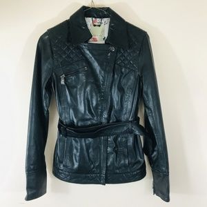 Ted Baker quilted leather belted jacket size 4